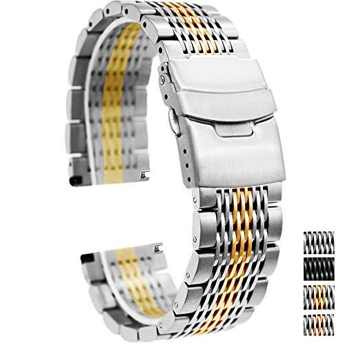 Gold Watch Bracelet Mesh - 22mm Dress Watch Band, Stainless Steel Bracelet Watch Men Replacement Distinctive Metal Strap Fold Over Clasp Silver IP Gold Mesh Watch Bracelet