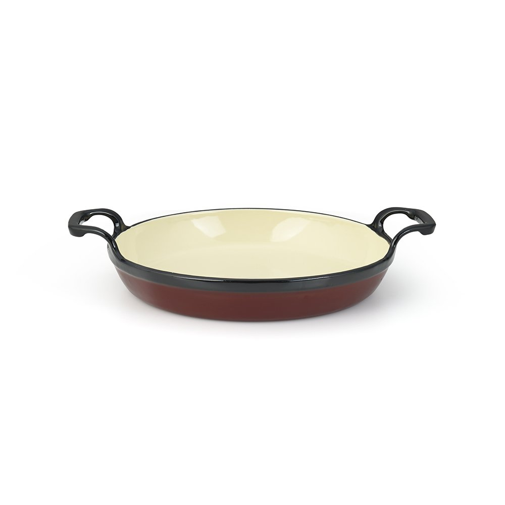 Essenso Grenoble 3 Layer Enameled Cast Iron Egg and Omelet Pan with Ceramic Coating, 6.3'', Cherry/Cream by ESSENSO (Image #3)