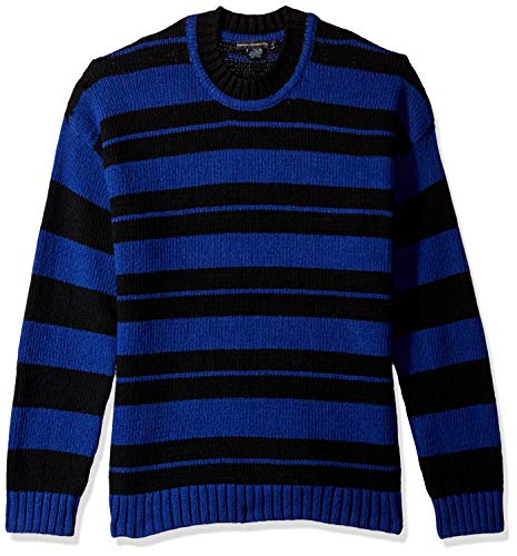 French Connection Men's Wool Long Sleeve Sweater, Fluro Blue/Black, L