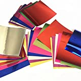 Sakolla Aluminium Foil Color Origami Folding Paper 112 Sheets Set Metallic Color