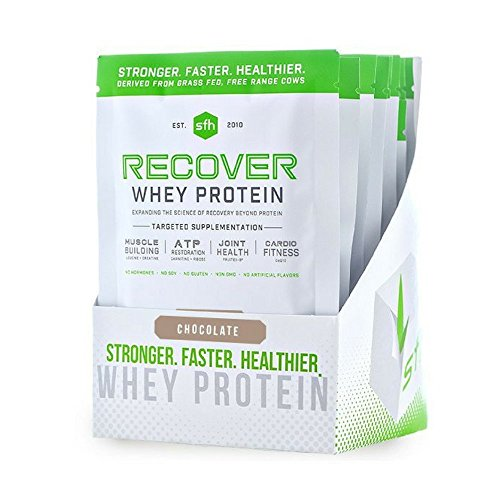 Recover Whey Protein Powder Chocolate by SFH Great Tasting 100 Grass Fed Whey for Post Workout All Natural No Soy, No Gluten, No RBST, No Artificial Flavors Single Serve