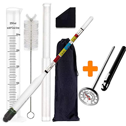 "Hydrometer and Test Jar for Wine, Beer, Mead and Kombucha | Combo Set of Triple Scale Alcohol Hydrometer | 250ml Plastic Cylinder, Cleaning Brush, Cloth, Storage Bag | 1"" Dial Thermometer for HomeBrew ()"