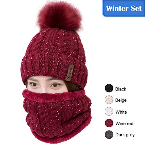 - LCZTN Womens Pom Beanie Hat Scarf Set Girls Cute Winter Ski Hat Slouchy Knit Skull Cap with Fleece Lined
