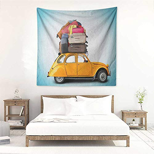 Willsd Travel DIY Tapestry Old Fashioned Car Auto with Bunch of Luggage on The Roof Happy Summer Holiday Print Living Room Background Decorative Painting 32W x 32L INCH Multicolor