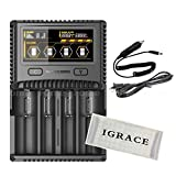 Smart Charger Battery, iGrace NITECORE SC4 Battery Charger Lithium HD LCD Display Battery Reverse Over Charge Protection IMR Battery Repair Function Compatible with Li-ion IMR LiFePO4 Ni-MH(NiCd)