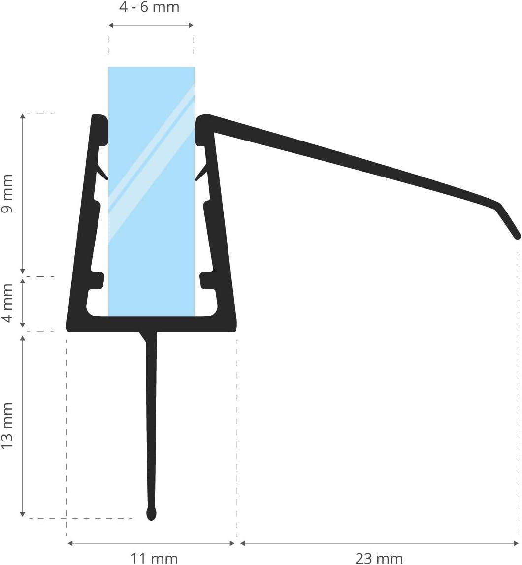 STEIGNER 80 cm Junta Repuesto Para el Vidrio 3,5mm/4mm/5mm/6mm/7mm ...