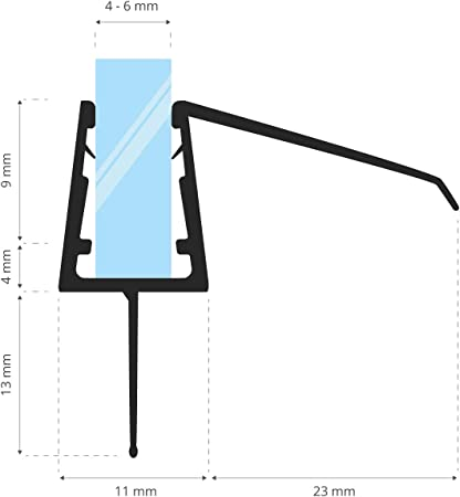 Junta de recambio para ducha deflector de 3,5mm// 4mm// 5mm vidrio grueso agua sello ducha de protecci/ón de sobretensi/ón recta 80cm UK04