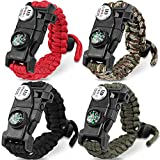 HNYYZL 4 Pack Paracord Bracelet-20 in 1, Adjustable Tactical Survival Paracord Bracelet Emergency Gear with LED Light, Compass, Fire Starter, Whistle, Knife, Etc, for Outdoor Camping Hiking(4 Colors)