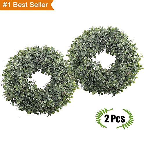 Magneticspace 2Packs Artificial Green Leaves Wreath, 17