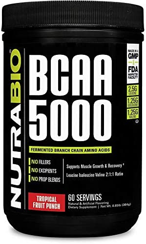 NutraBio BCAA 5000 Powder – 60 Servings Tropical Fruit Punch