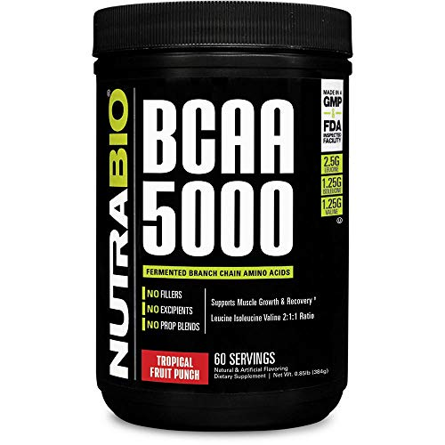 NutraBio BCAA 5000 Powder - 60 Servings (Tropical Fruit Punch)