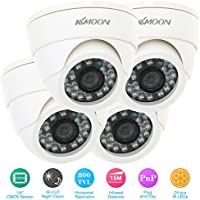 KKmoon 1/4 800TVL 24PCS IR LEDs Security Surveillance CCTV Camera Had IR Cut 3.6mm Lens High Resolution Dome Camera & 4pcs 60ft Video Cable IR Distance PAL System Home Surveillance