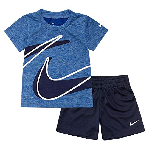 - Nike Kids Baby Boy's Dri-Fit Short Sleeve T-Shirt and Shorts Two-Piece Set (Toddler) Obsidian 4T