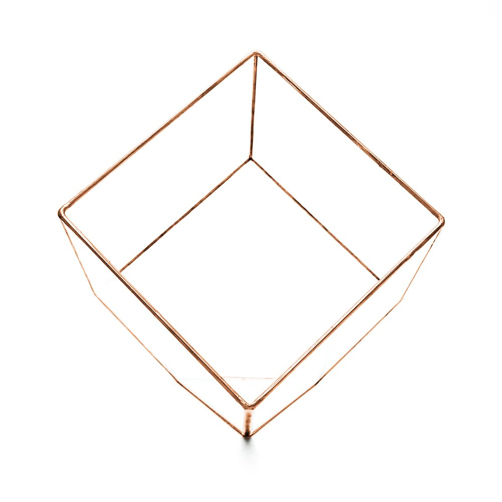 SUPERSIZE EXTRA LARGE TERRARIUM - AZTEC COPPER CUBE - FRAME ONLY. Also available fully assembled with faux succulent plants and LED lights 10'' x 10'' x 10'' (Empty - Frame only) by The Urban Botanist