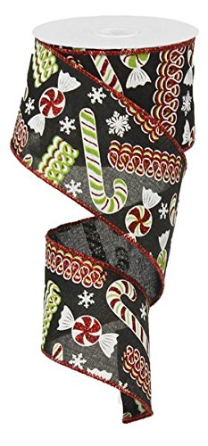 (Ribbon Candy Christmas Wired Edge Ribbon - 2.5