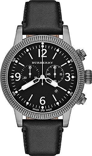 Burberry Swiss TOP Swiss Watch Chronograph Men Women Utilitarian Black Authentic Leather Black Date Dial - Black Burberry Leather
