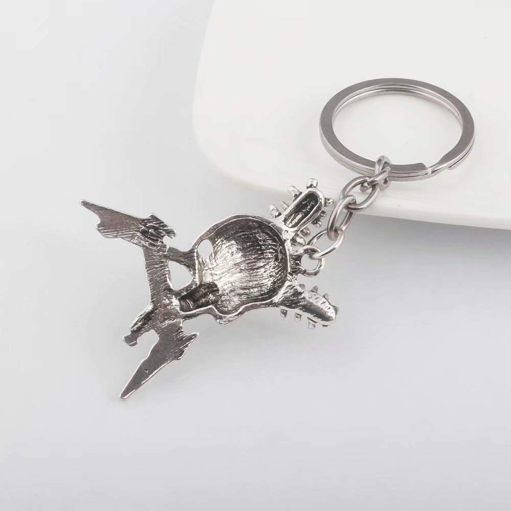 Metal Keychain /& Necklace Rock Band Metallica Skull Head Logo Pendant Keyring /& Necklaces Present for Men