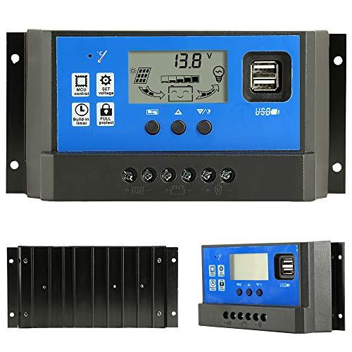 40A Charge Controller, Solar Panel Charge Controller 12V/24V Auto Paremeter Adjustable LCD Display Solar Power Regulator with Dual USB Load Timer Setting fit for Lead-Acid Battery