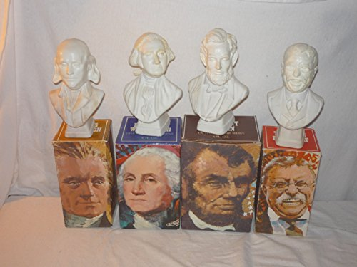 VINTAGE 1970's- SET OF 4 MOUNT RUSHMORE SET OF AVON GLASS BOTTLES WITH ORIGINAL BOXES- GEORGE WASHINGTON, ABRAHAM LINCOLN, THOMAS JEFFERSON, THEODORE ROOSEVELT