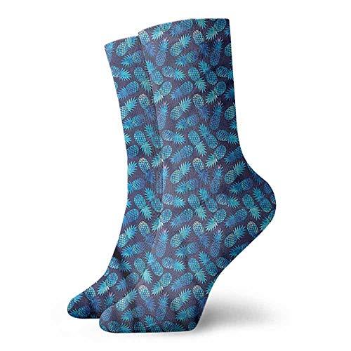 Ankle Socks Hosiery Pastel,Tropical Pineapple Blue 3.4