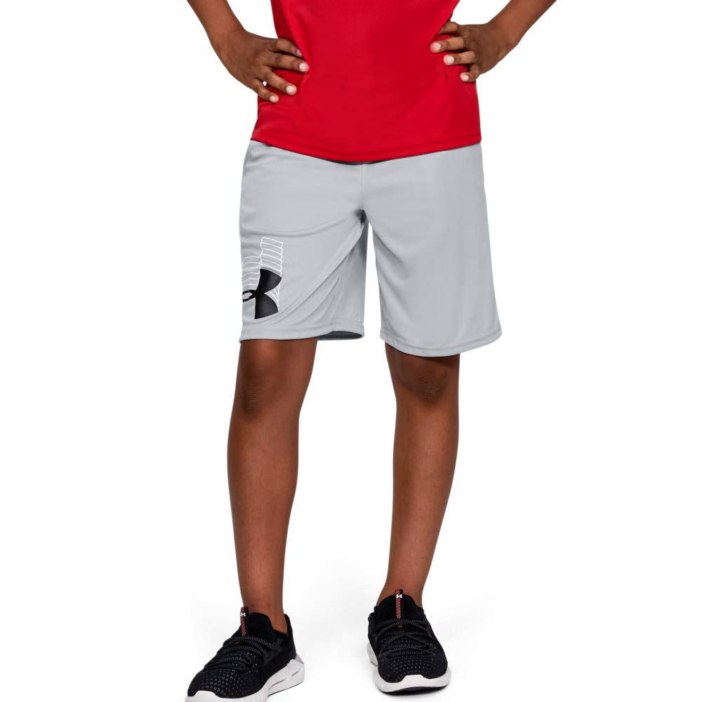 UNDER ARMOUR boys Prototype Logo Shorts, Mod Gray (011)/Black, Youth Large by Under Armour