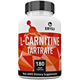 EBYSU L-Carnitine L-Tartrate Supplement - 180 Vegan Capsules, 1000mg Gluten-Free & Non-GMO Amino Acids - Helps Aid Fat Burn & Muscle Building Workouts - lcarnitine Powder Caps Vegetarian Health Supplements