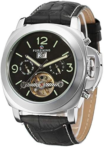 FORSINING Men s Luxury Automatic Self-Wind Tourbillon Calendar Analogue Watch with Leather Strap