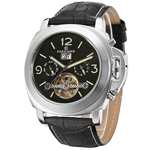 FORSINING Men's Luxury Automatic Self-Wind Tourbillon Calendar Analogue Watch with Leather Strap