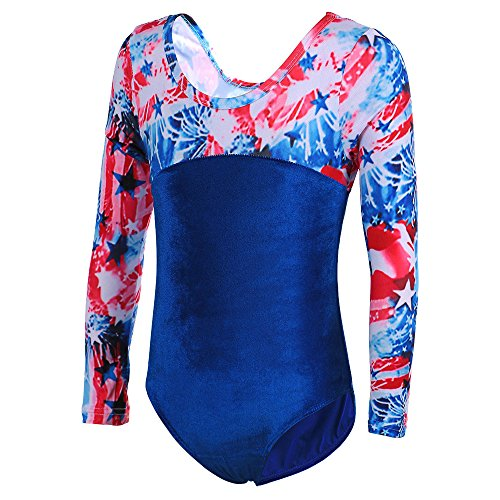 Girls Long sleeves Spliced Painted pattern Shinning Gymnastic Leotards Blue 7-8 Years