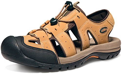 ATIKA Men's Sports Sandals Trail Outdoor Water Shoes 3Layer Toecap, Cairo(m108) - Camel, 11