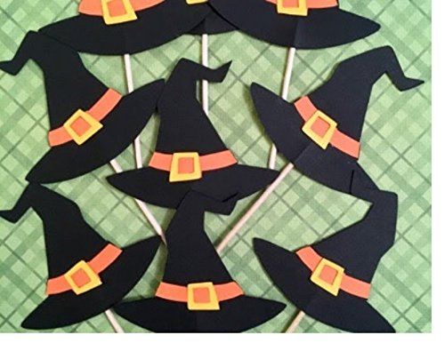 Witch hat cupcake toppers, Halloween cupcake toppers, Witch cupcake toppers set of 12, Wicked witch decorations]()