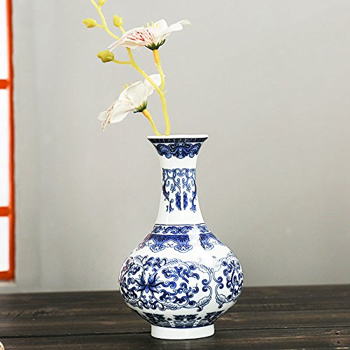 (KICODE TOPmountain Antique Wall Mounted Porcelain Vases Traditional Chinese Blue White Flower Painted Rare Ceramic Living Room Home Ornaments)