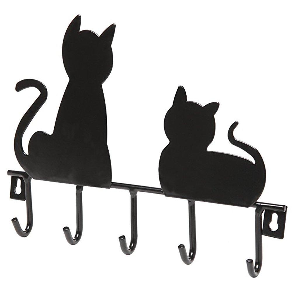 Kokkn Black Cats Stainless Steel Hook Hanger Rack Wall Mounted, Hats Key Towel Organizer-5 Hooks (Black)