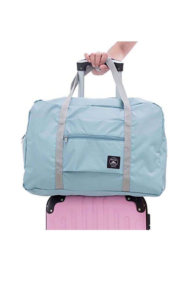 BLAU GRUN Travel Lightweight Waterproof Foldable Storage Tote Bag Carry Luggage Handbag Light Blue