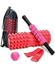 COVVY Yoga Foam Roller Column, Spierroller Stick, Massager Fascia Bal, Weerstandsband, 4 in 1 Fitness Massager Set voor Diepe Tissue en Trigger Point Massage, Verlicht pijn, Myofascial Release
