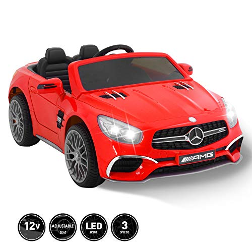 Fitnessclub 12V Kids Ride On Car Toy Licensed Mercedes-Benz AMG Roadster SL65 Electric Car Remote Control Spring Suspension LED Lights Safety Lock Detachable Battery 3 Speeds USB Red