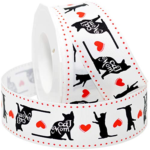 Morex Ribbon 5682 Precious Pets - Cat Mom Ribbon 1.5 inch by 20 Yards White