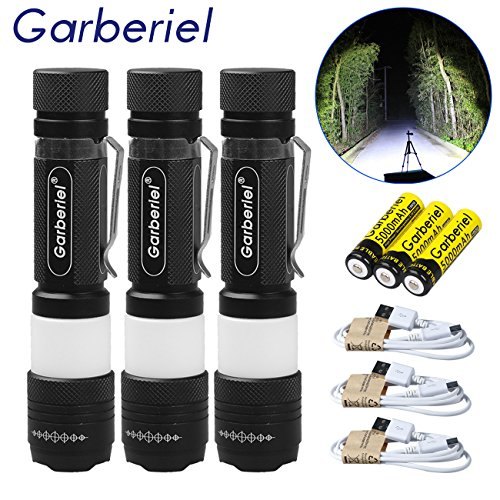 Garberiel 3 x 800 Lumens LED Flashlight LED Torch 18650 Flashlight Include 3 x USB Line + 3 x 18650 Button Top Battery