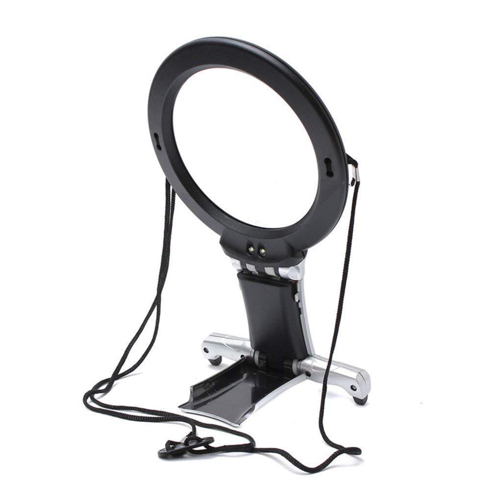 Eeayyygch Hands Free VerGrößerungsarsch 2 LED-Lichter und Halskordel, Ständer 2.5X 5X beleuchtete Lupe zum lösen von Nähbüchern