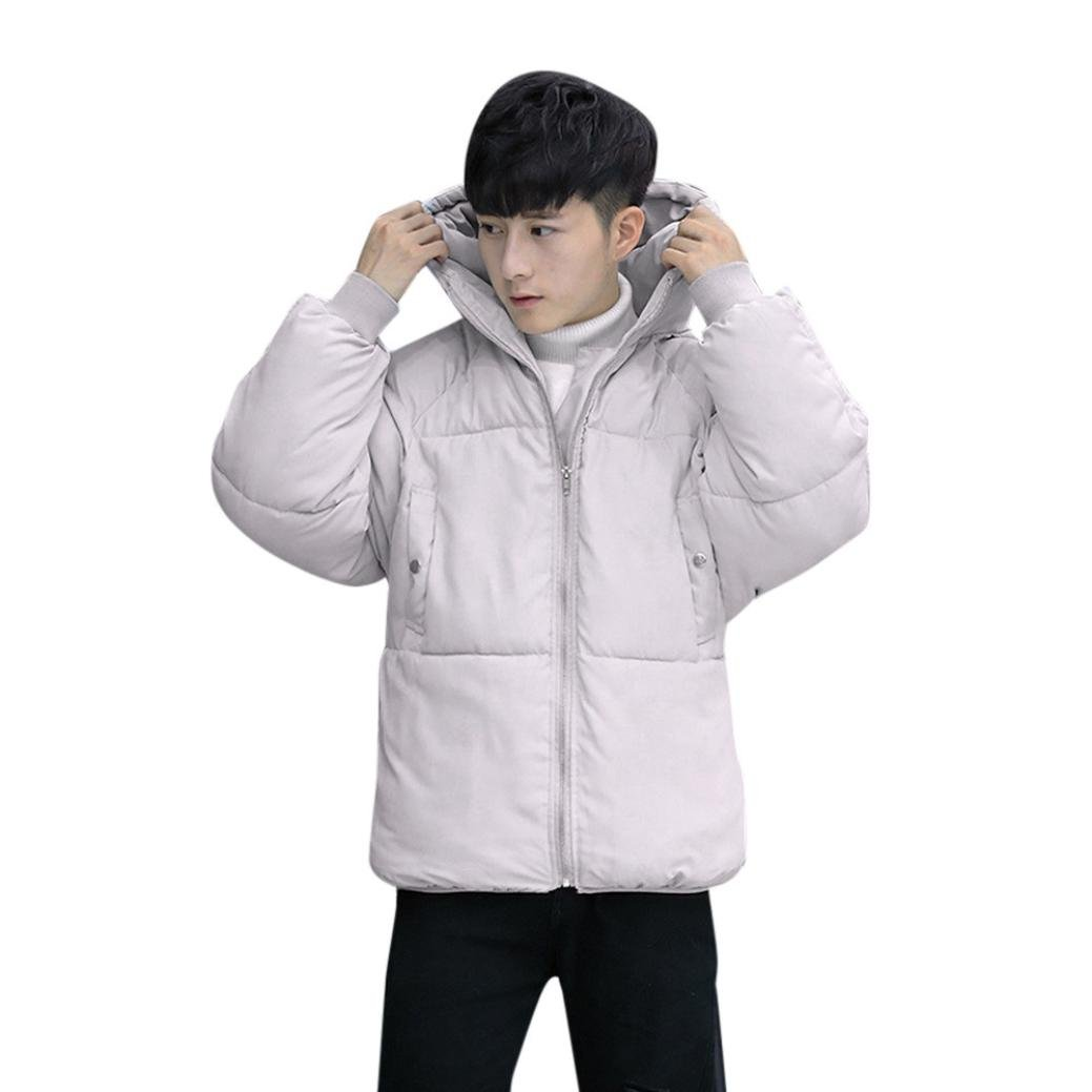 Boys Men Winter Warm Slim Winter Zipper Pockets Coat Outwear Jacket by ZYooh (Gray, L)