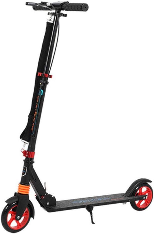 CCTYCC Scooter para niños/Adultos, absorción de Choque Ajustable 3 Segundos Sistema de Plegado fácil Freno de Mano Scooter de 220 LB, para niños Adultos al Aire Libre en el hogar/Negro