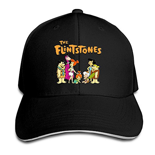 [Logon 8 The Flintstones Unisex Sandwich Peaked Cap Black One Size] (Fred And Wilma Costumes To Make)
