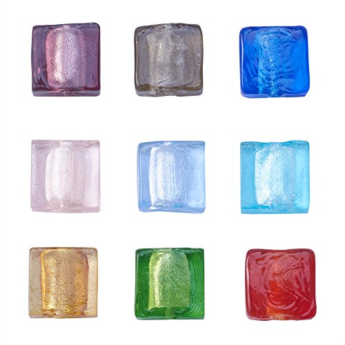 Beadthoven 200pcs Handmade Silver Foil Lampwork Glass Beads Mixed Square