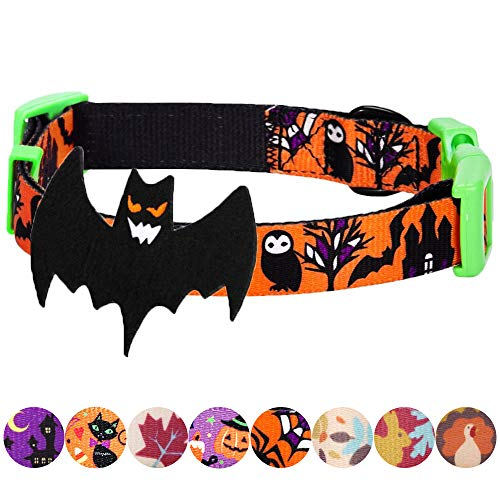 Blueberry Pet 10 Patterns Fall Halloween Thanksgiving Dog Collars, Collar Covers