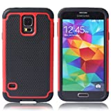 Minnesota Computers S5 Armored CaseFootball Pattern 2-in-1 Hybrid Protective Cover Works with Samsung Galaxy S5 / Galaxy SV / S5 I9600 (Red)