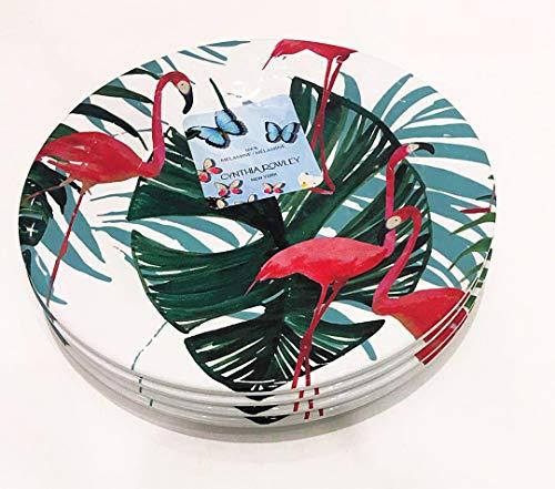 - Cynthia Rowley Set of 4 Melamine Dinner Plates Tropical FLAMINGOS