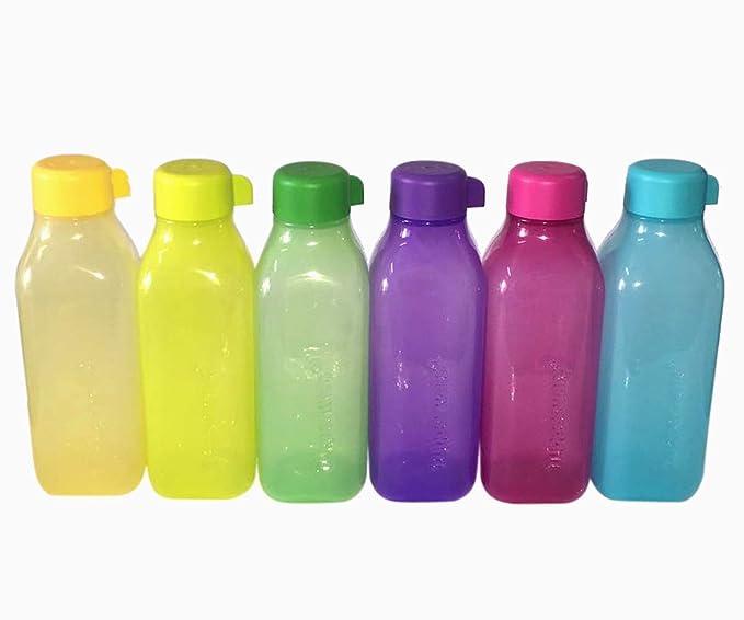 Tupperware cuadrada botella de agua, 500 ml con tapón de rosca, conjunto de 6, Multicolor: Amazon.es: Hogar