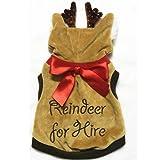 Pettstore Funny Xmas Reindeer Dog Costumes Pet Cat Coat Sweater Hoodies Jacket (XS, Brown) For Sale