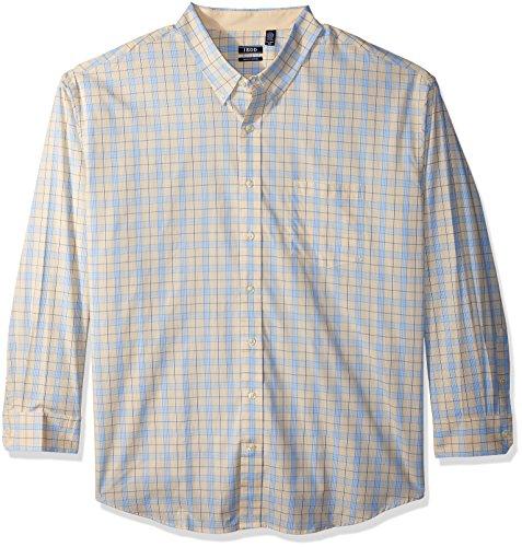 IZOD Men's Tall Essential Check Long Sleeve Shirt (Slim), Sundress, 3X-Large Big (Dress Shirt Rugby)