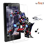 [2 Pack] All New HD 7 Tablet Tempered Glass Screen Protector (7th Generation - 2017 Release), [Lifetime Replacement Service][Bubble Free][Easy Installation][Anti-Scratch][Anti-Fingerprint]